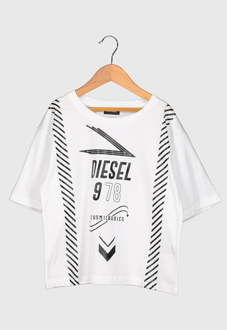 Tricou cu maneci cazute si imprimeu logo imagine promotie