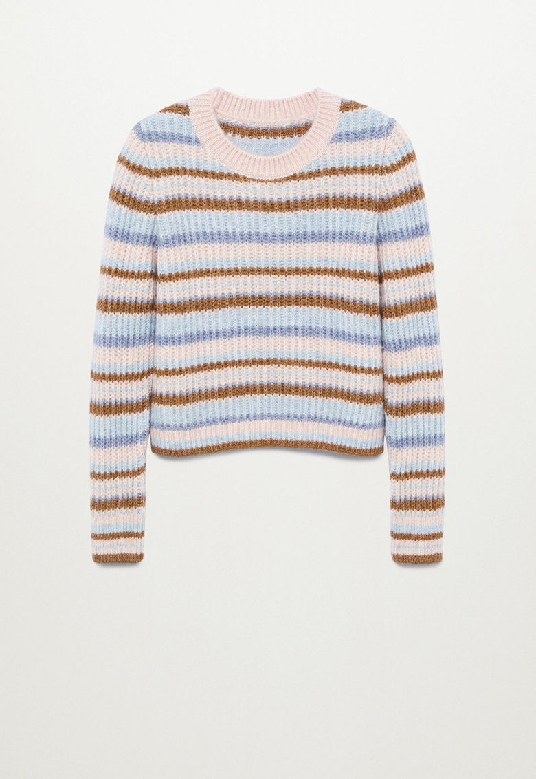 Pulover tricotat fin cu model colorblock Gussy imagine