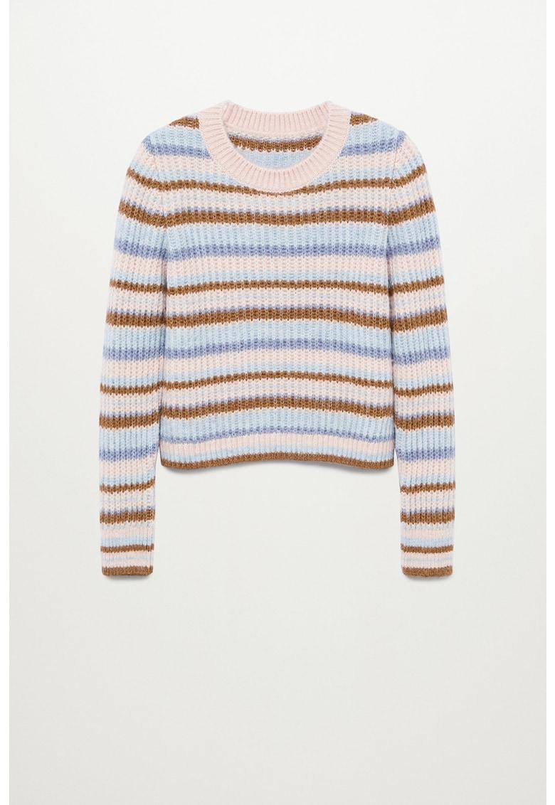 Pulover tricotat fin cu model colorblock Gussy