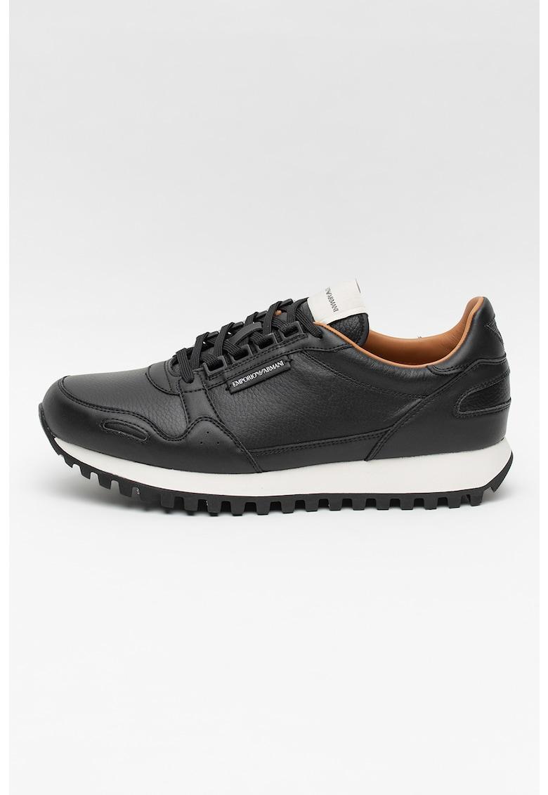 Pantofi sport din piele cu model uni