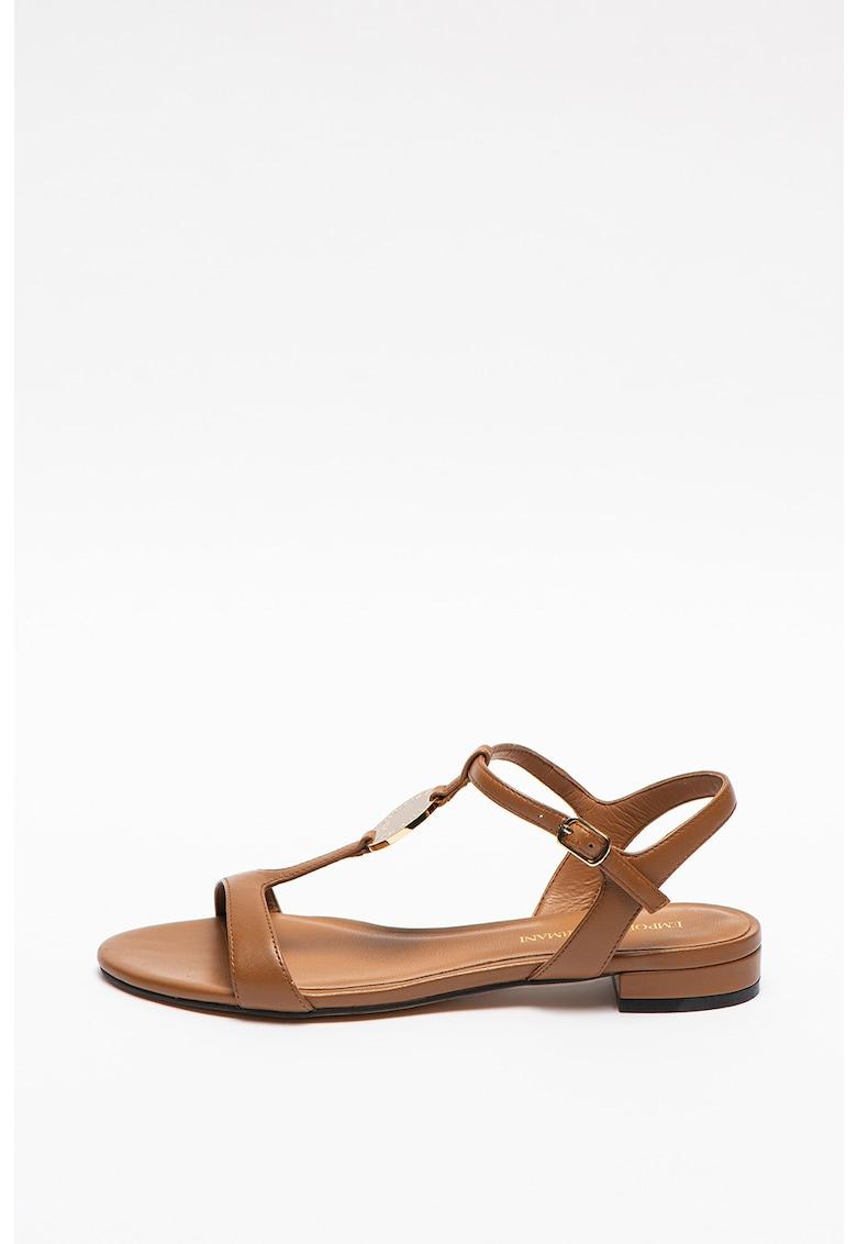 Sandale de piele cu toc masiv