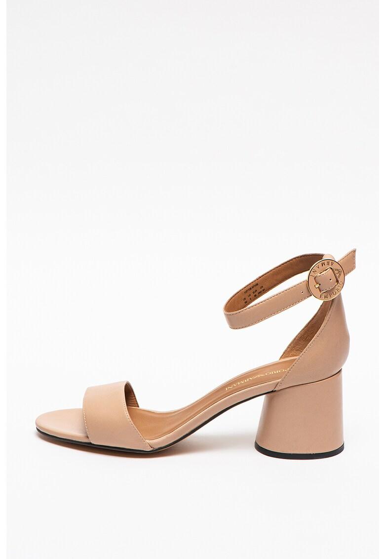 Sandale de piele cu toc masiv imagine