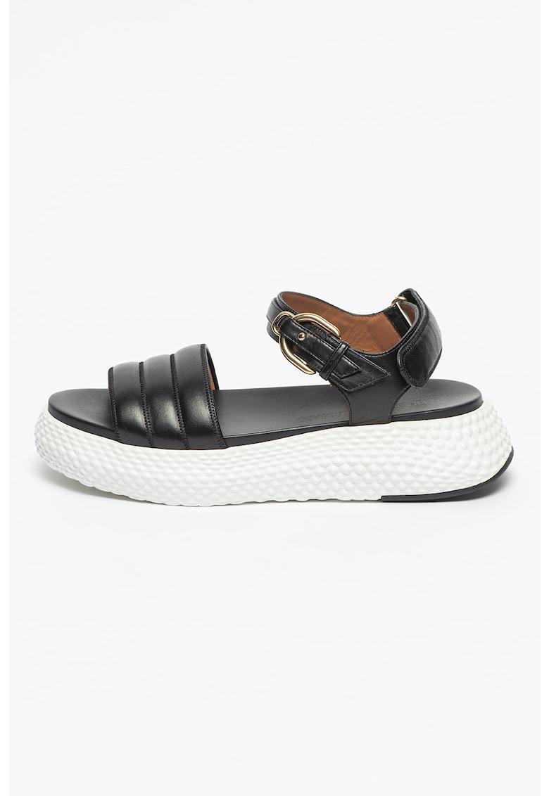 Sandale wedge de piele