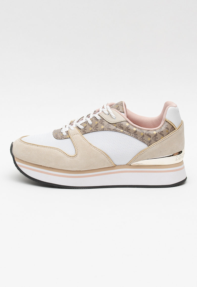 Pantofi sport cu talpa wedge si model colorblock