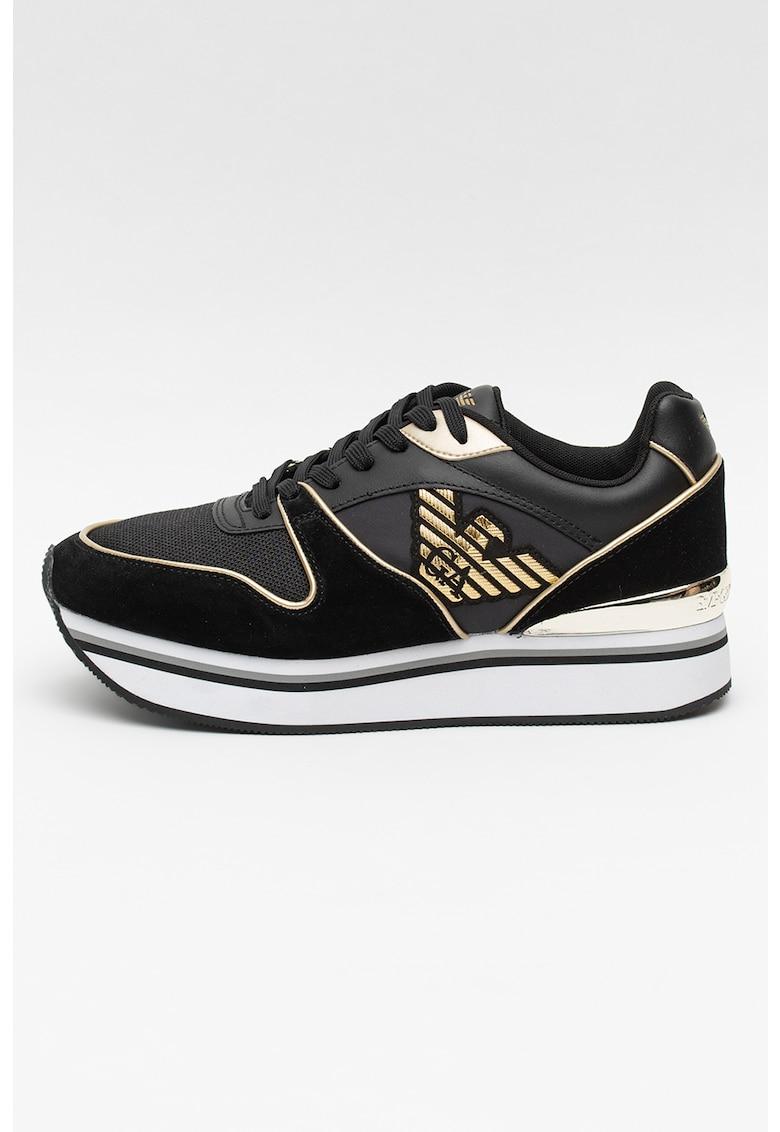 Pantofi sport cu talpa wedge si detalii metalizate