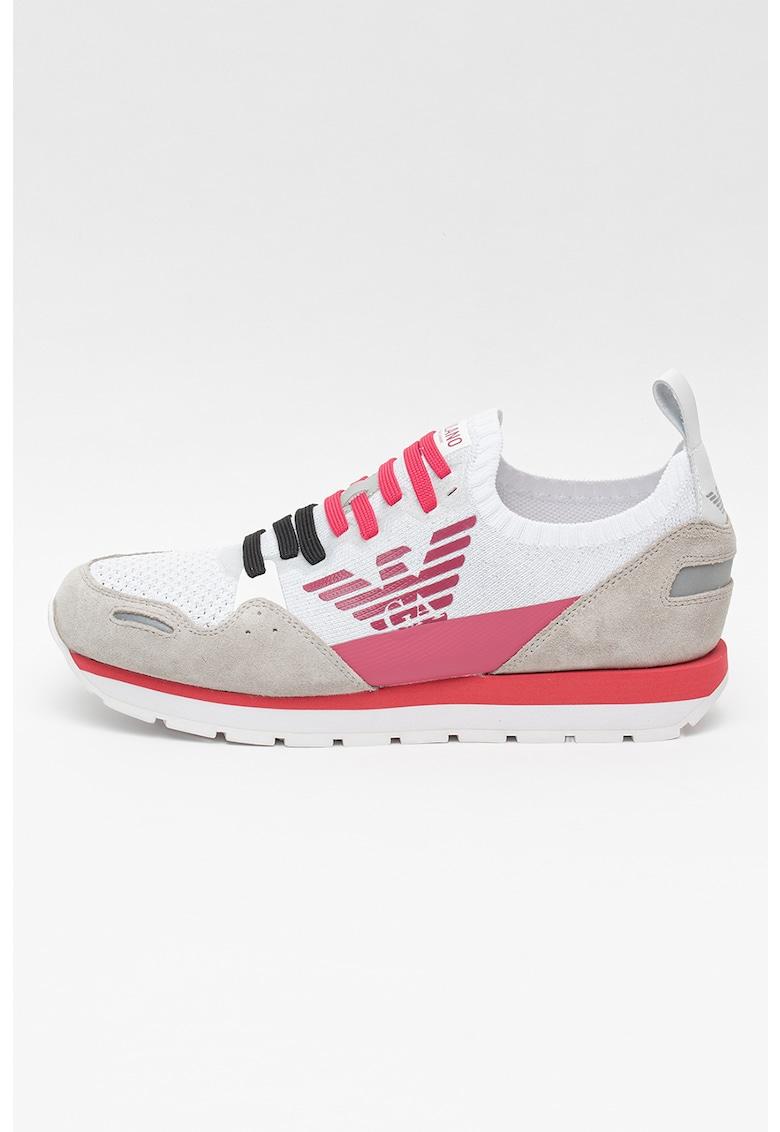 Pantofi sport tip soseta din material textil si piele intoarsa