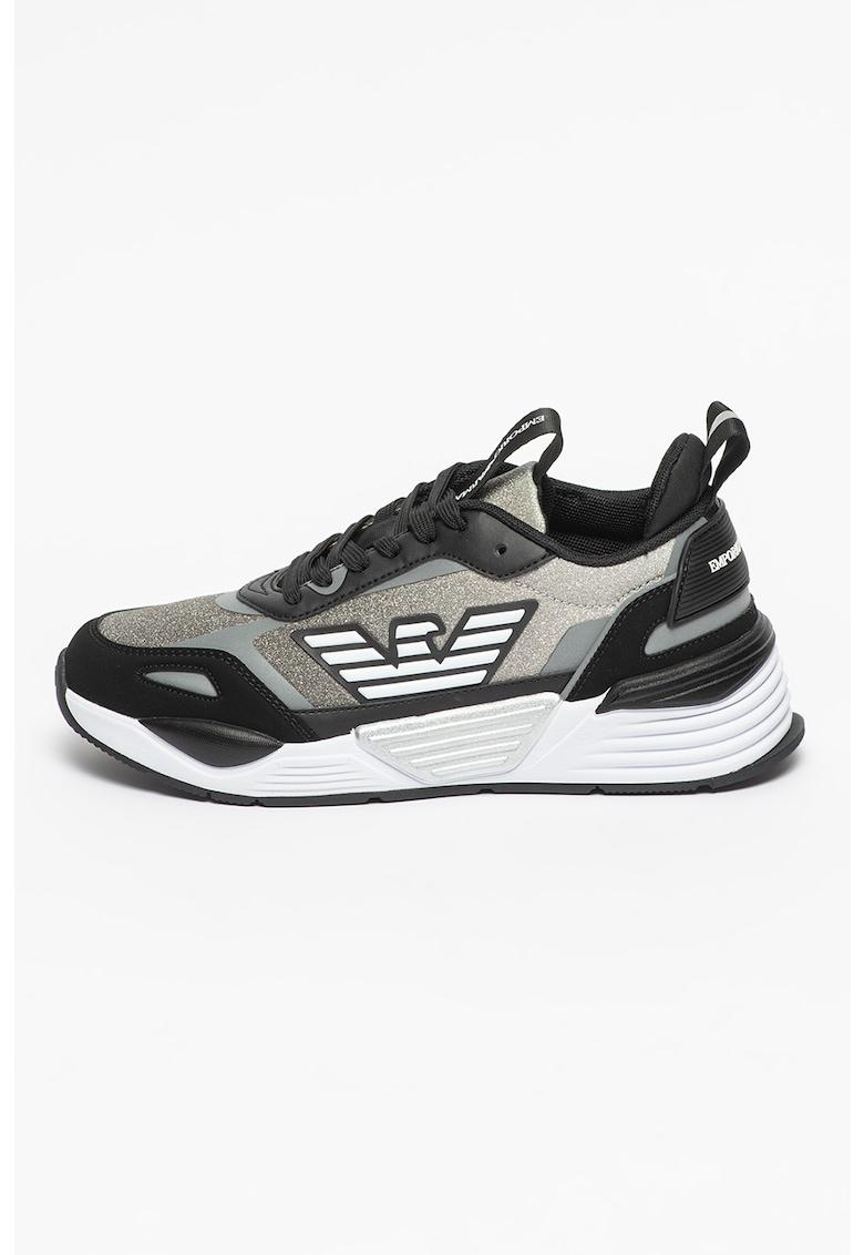 Pantofi sport wedge cu aspect stralucitor
