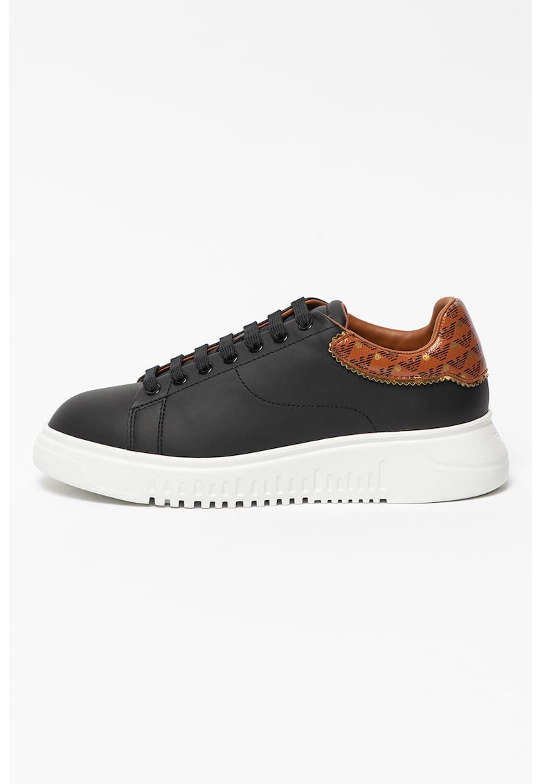 Pantofi sport din piele si garnitura contrastanta