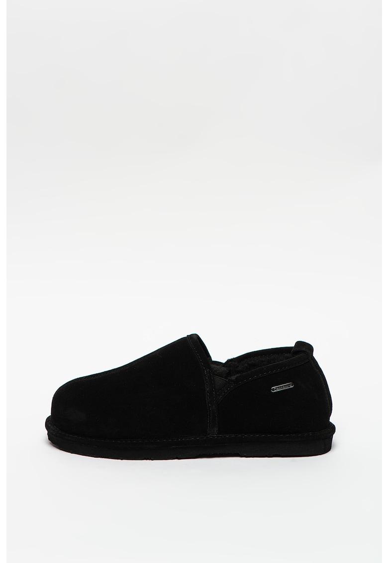 Papuci de casa din piele intoarsa cu insertii elastica Maddox imagine promotie