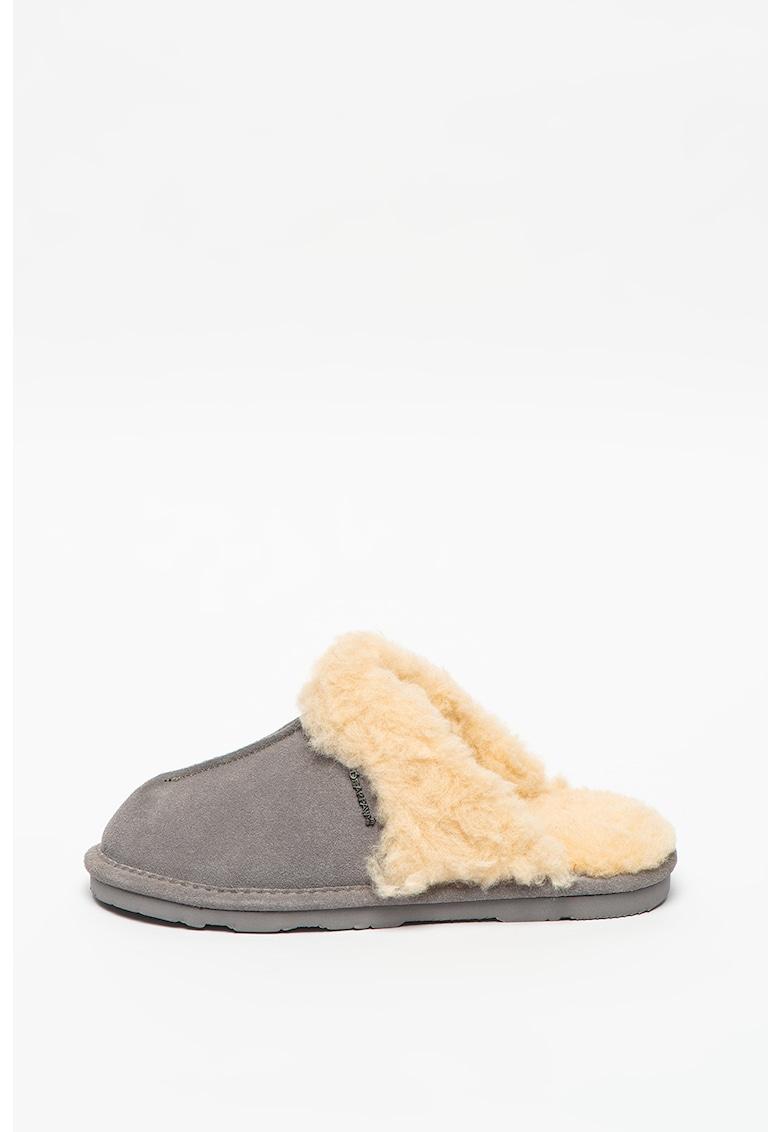 Papuci de casa din piele intoarsa Loketta imagine promotie