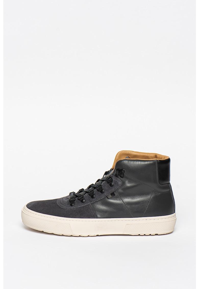 Pantofi sport mid-high de piele intoarsa si piele ecologica