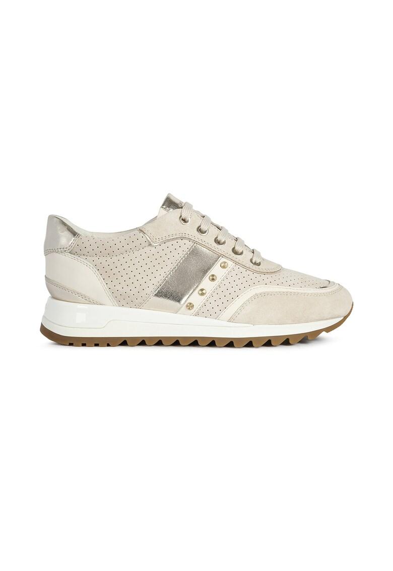 Pantofi sport din material respirabil cu garnituri din piele intoarsa si piele D Tabelya