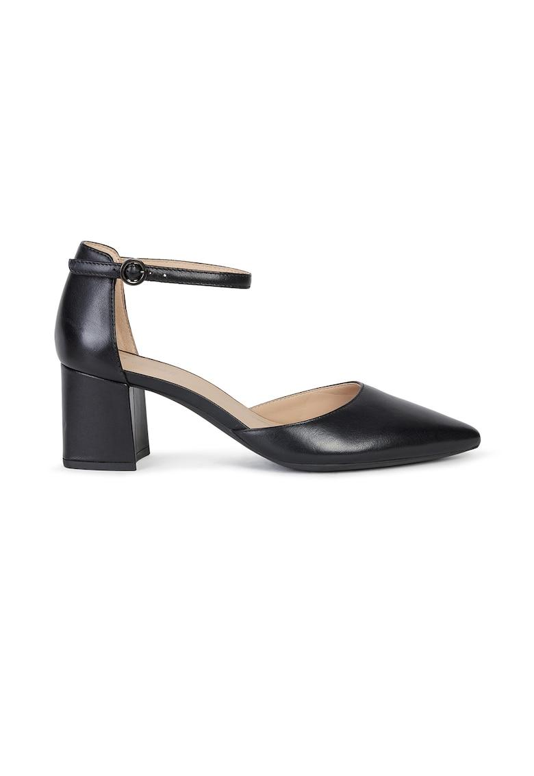 Pantofi din piele cu varf ascutit si toc masiv