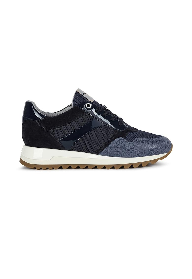 Pantofi sport cu detalii din piele si piele intoarsa