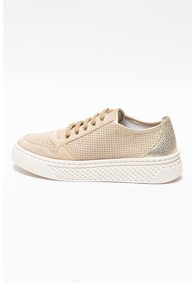 Pantofi sport cu perforatii si insertii de piele Licena