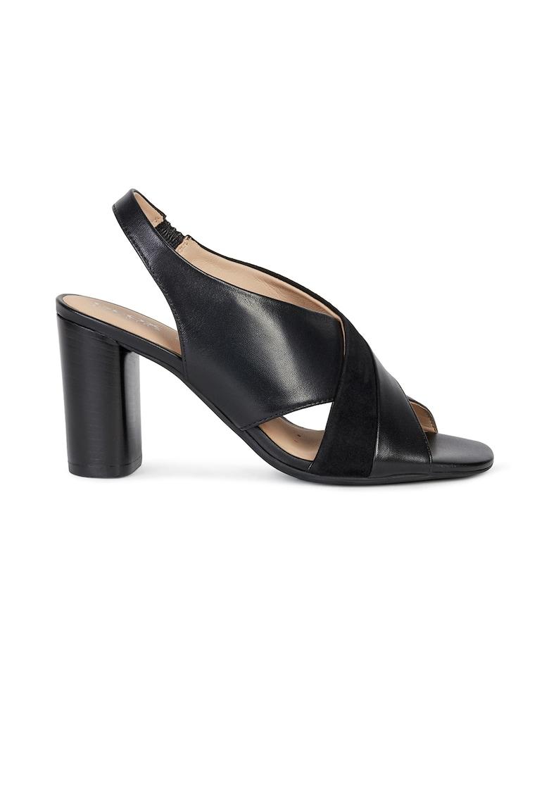 Sandale din piele si piele intoarsa cu toc masiv