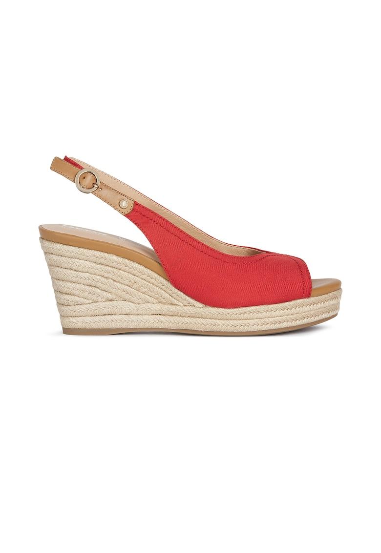 Sandale tip espadrile din piele si material textil cu talpa wedge