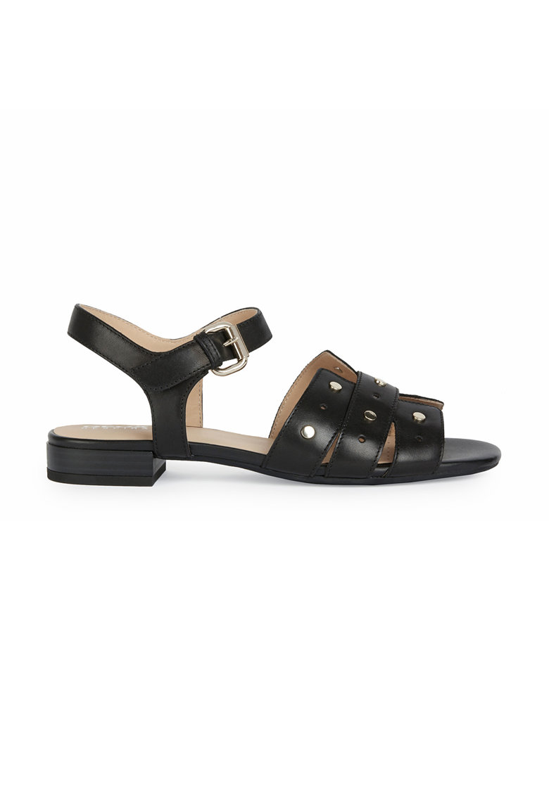 Sandale din piele cu barete multiple si nituri metalice