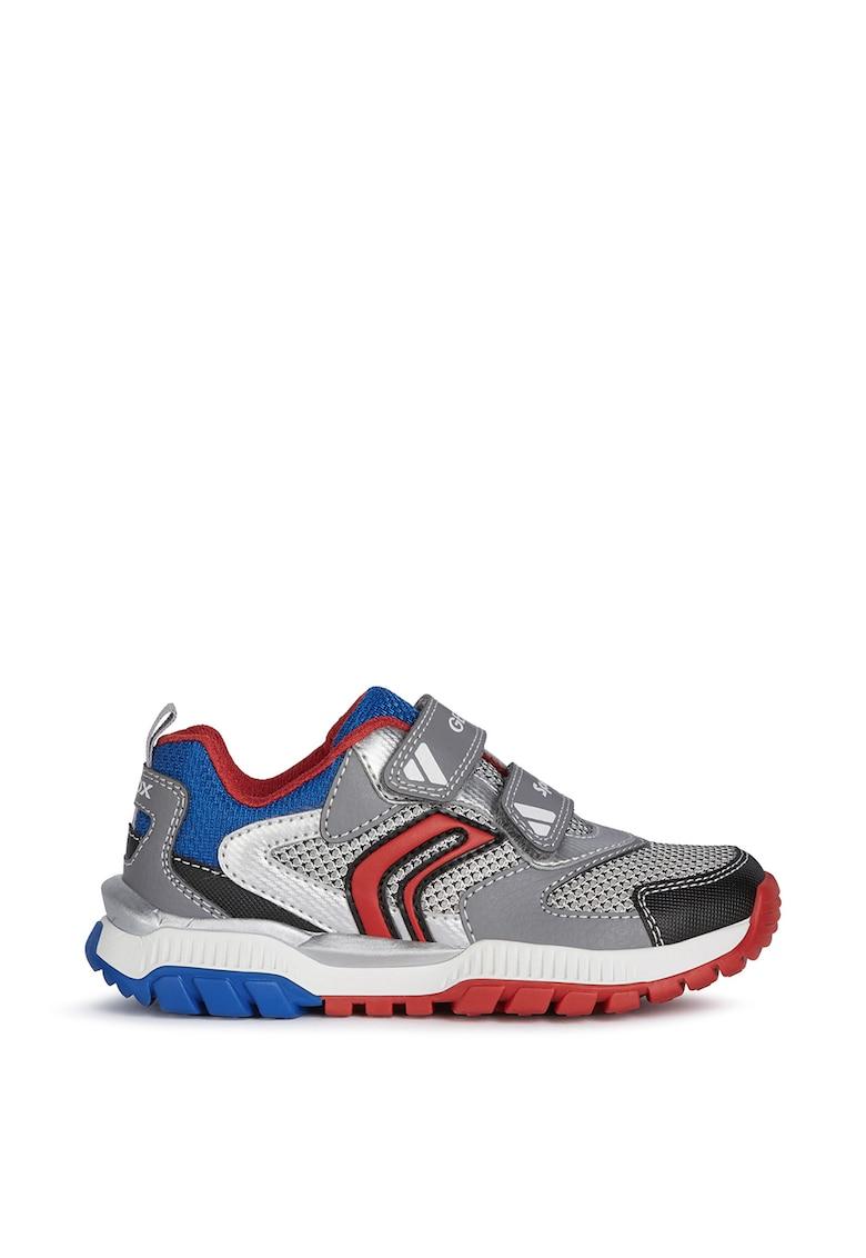 Pantofi sport din piele ecologica si plasa cu inchidere velcro