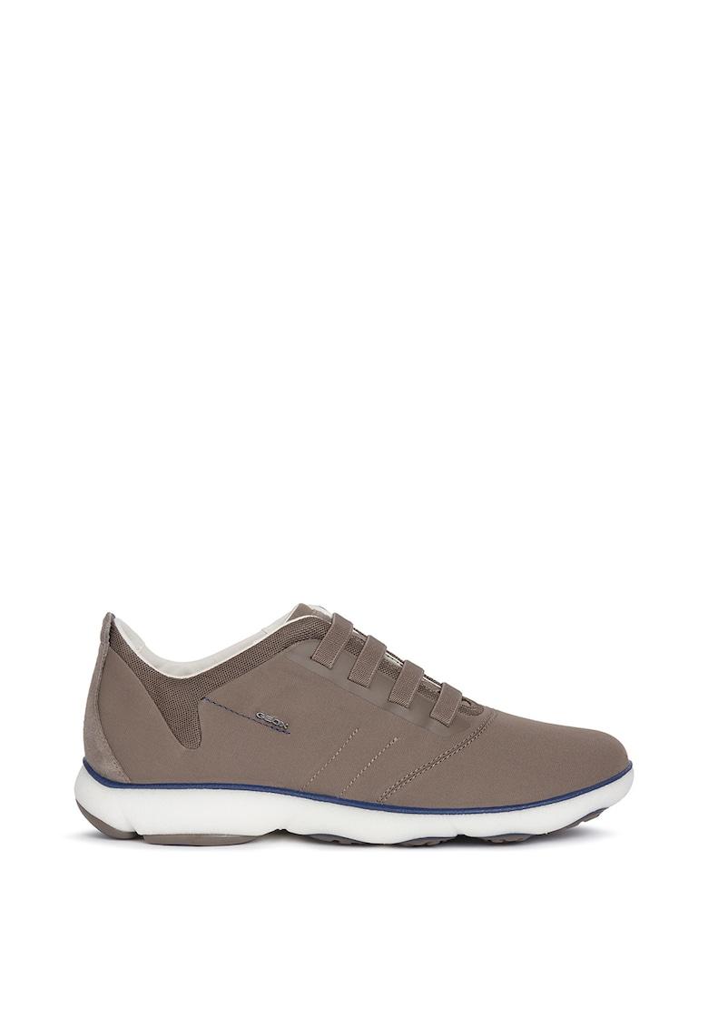 Pantofi sport textili cu insertii de piele intoarsa