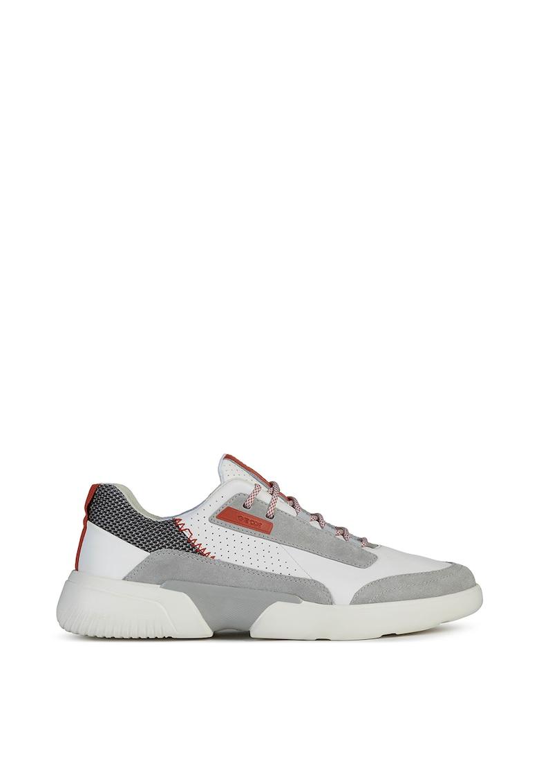 Pantofi sport de piele si piele intoarsa cu insertii textile Smoother imagine