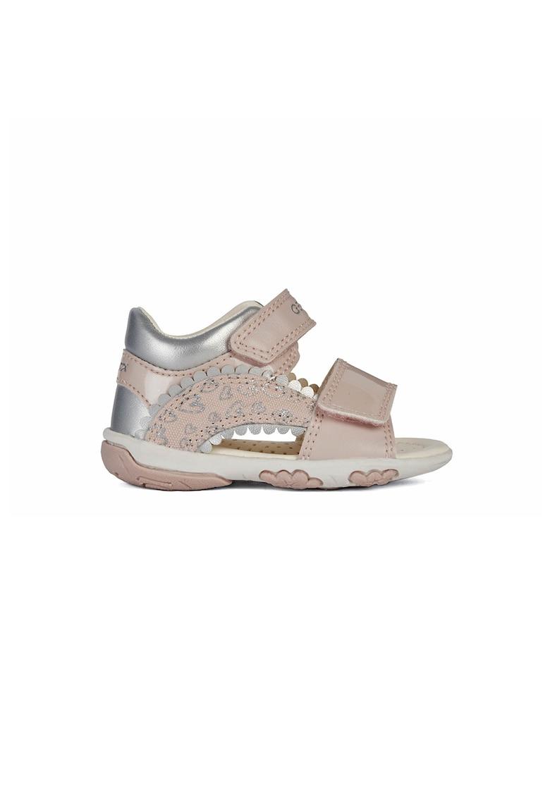 Pantofi sport de piele ecologica cu velcro si garnituri metalizate imagine