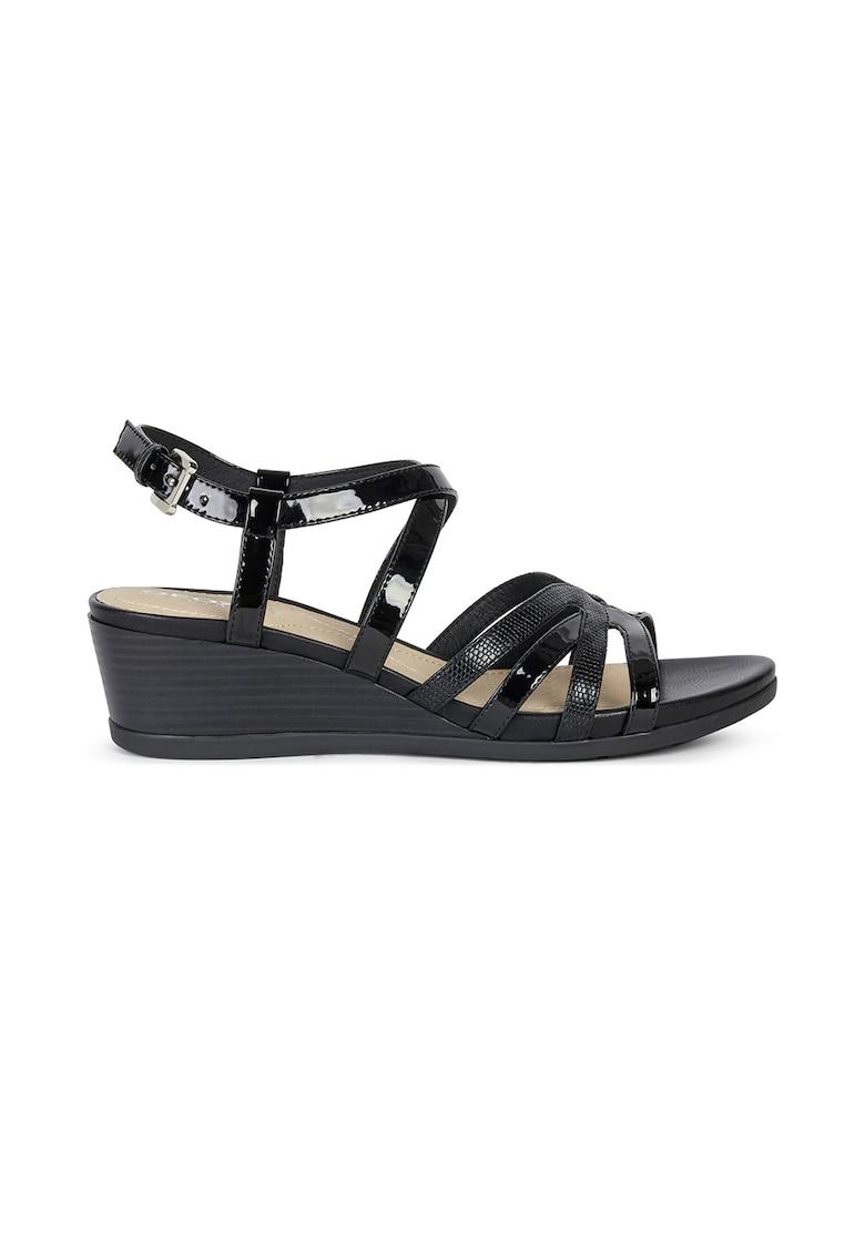 Pantofi slingback de piele ecologica lacuita cu barete multiple imagine fashiondays.ro Geox