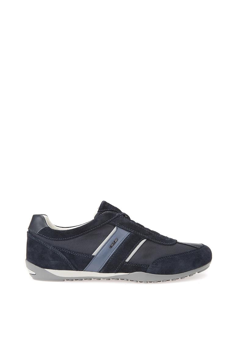 Pantofi sport de material textil si piele intoarsa