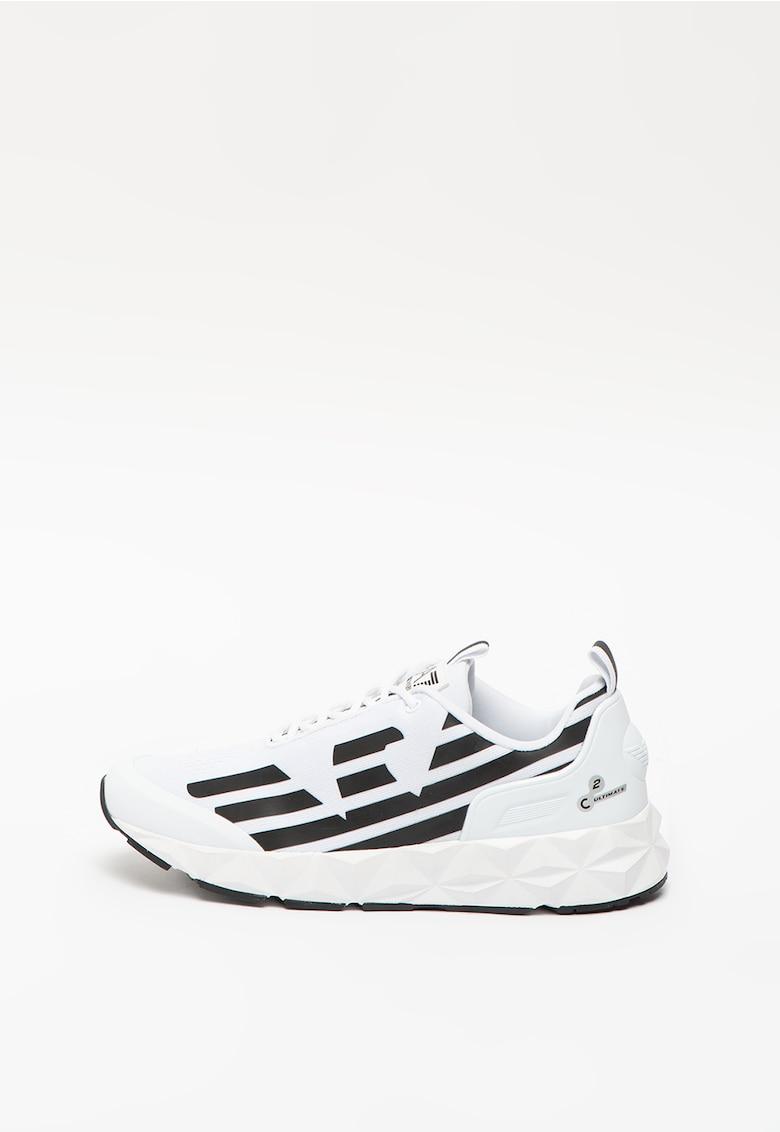Pantofi sport unisex de material textil cu aplicatie logo