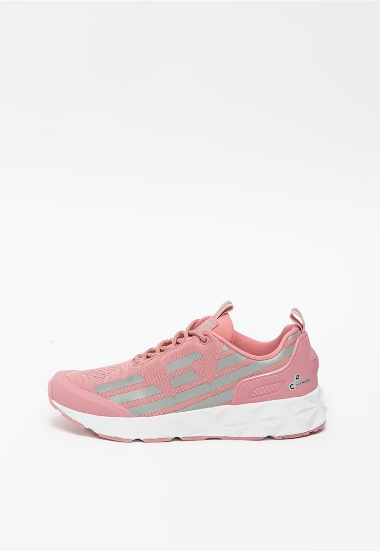Pantofi sport de material textil cu aplicatie logo