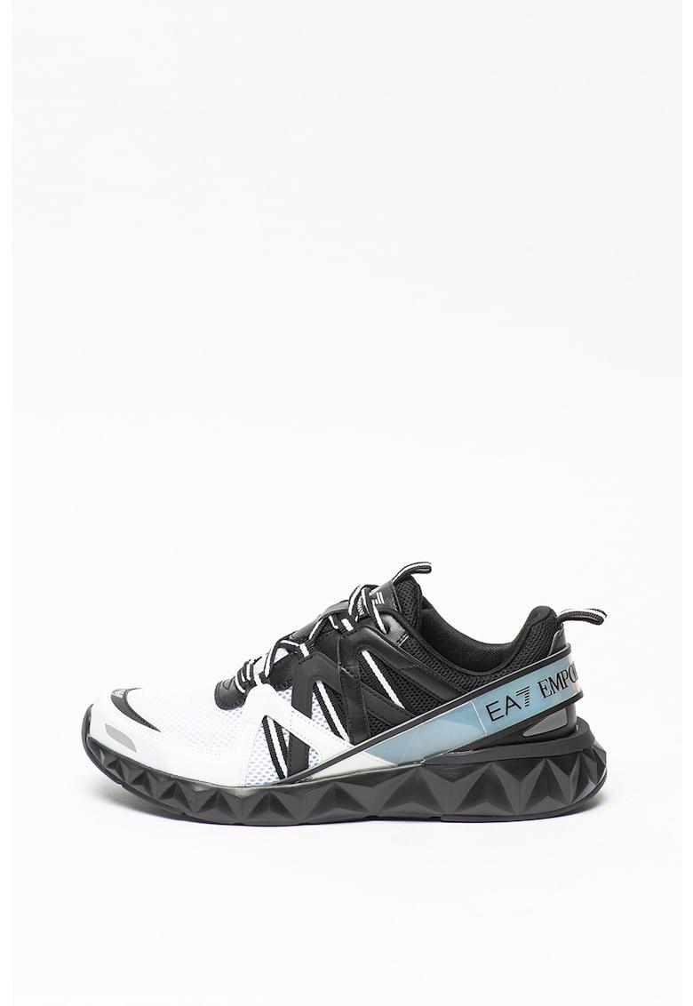 Pantofi sport de plasa cu garnituri de piele ecologica imagine