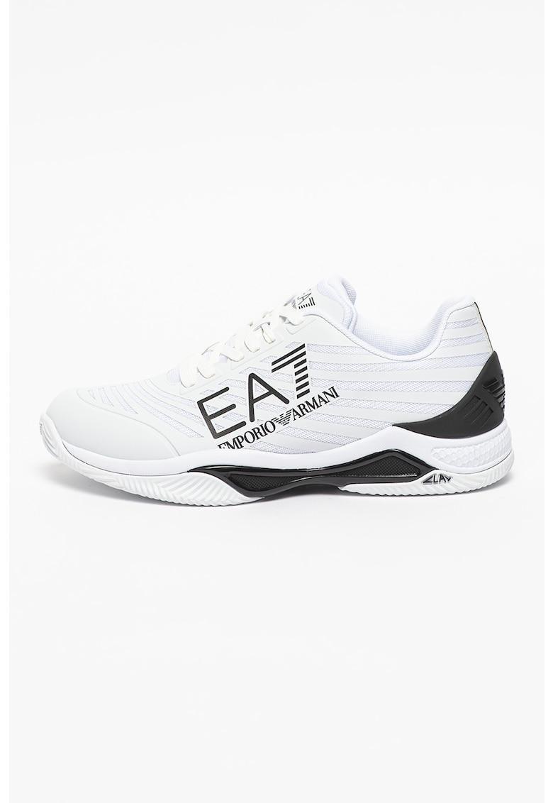 Pantofi sport de piele ecologica cu insertii textile