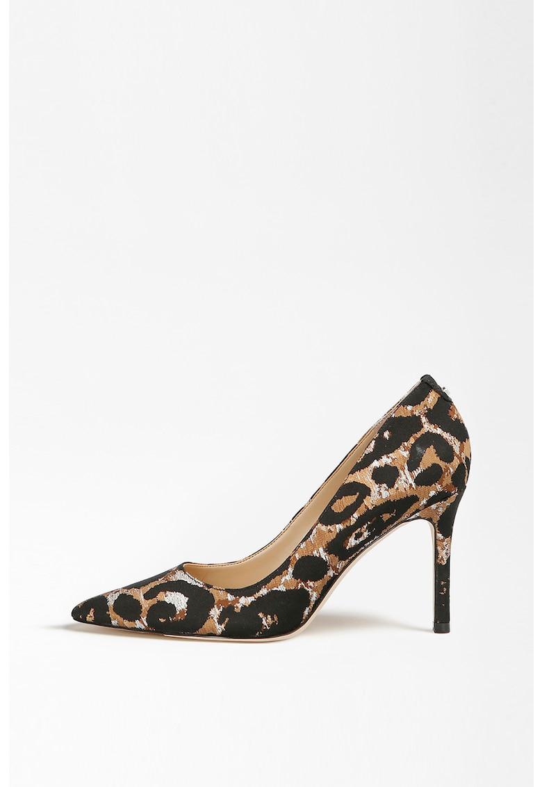 Pantofi cu varf ascutit si model leopard