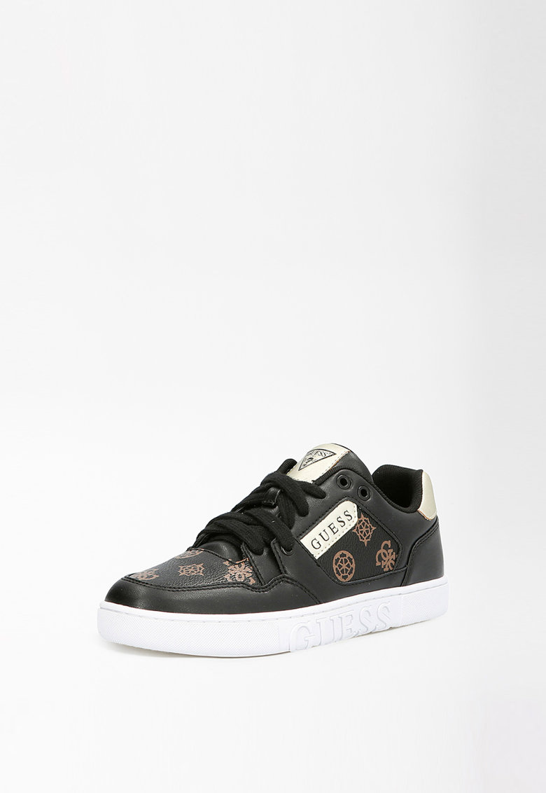 Pantofi sport de piele ecologica cu model monograma Julien Guess fashiondays.ro