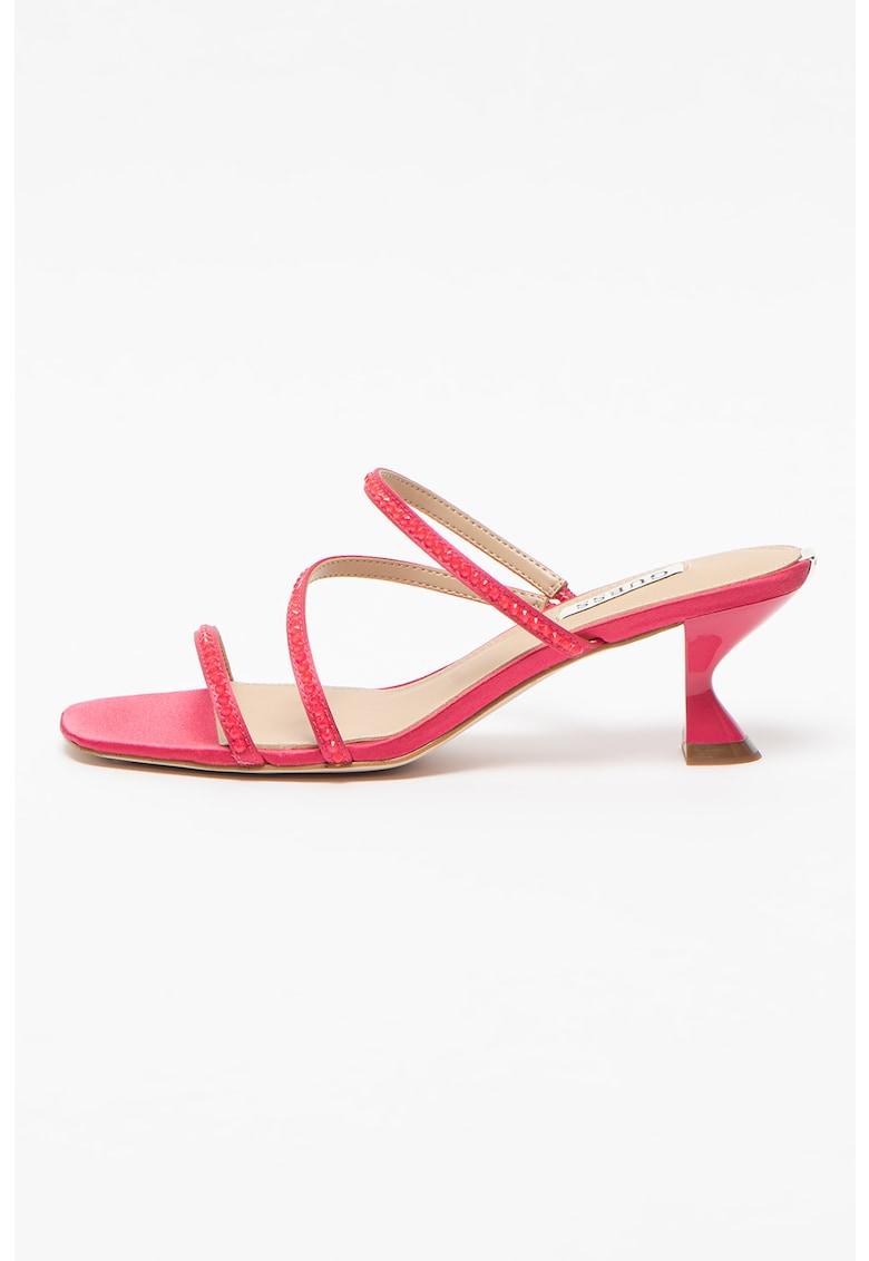 Papuci din satin cu toc si aplicatii cu strasuri Beely