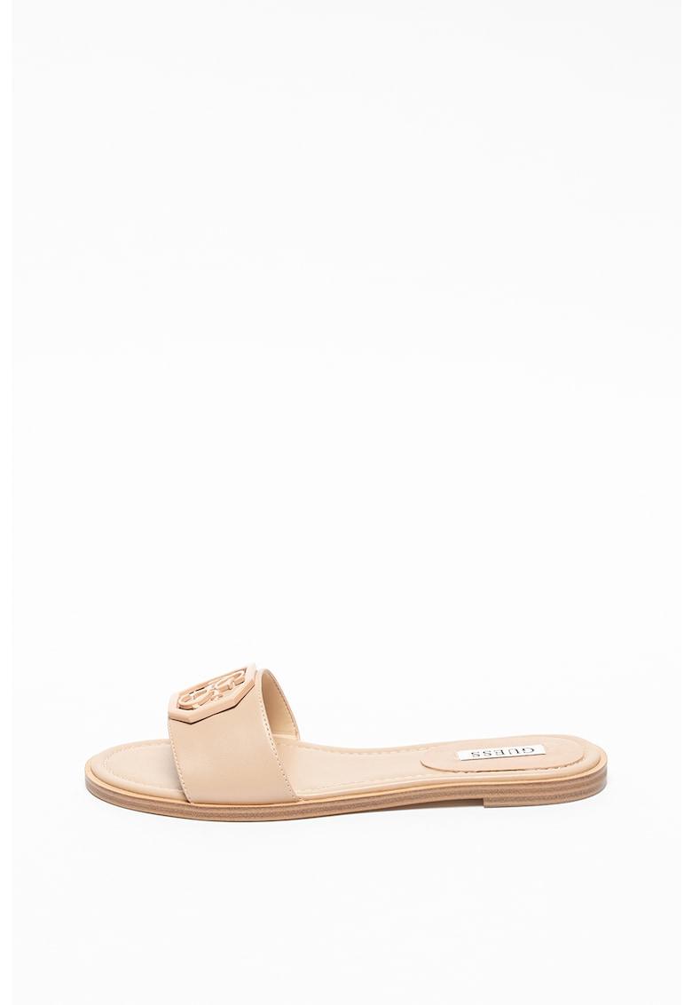 Papuci din piele cu logo