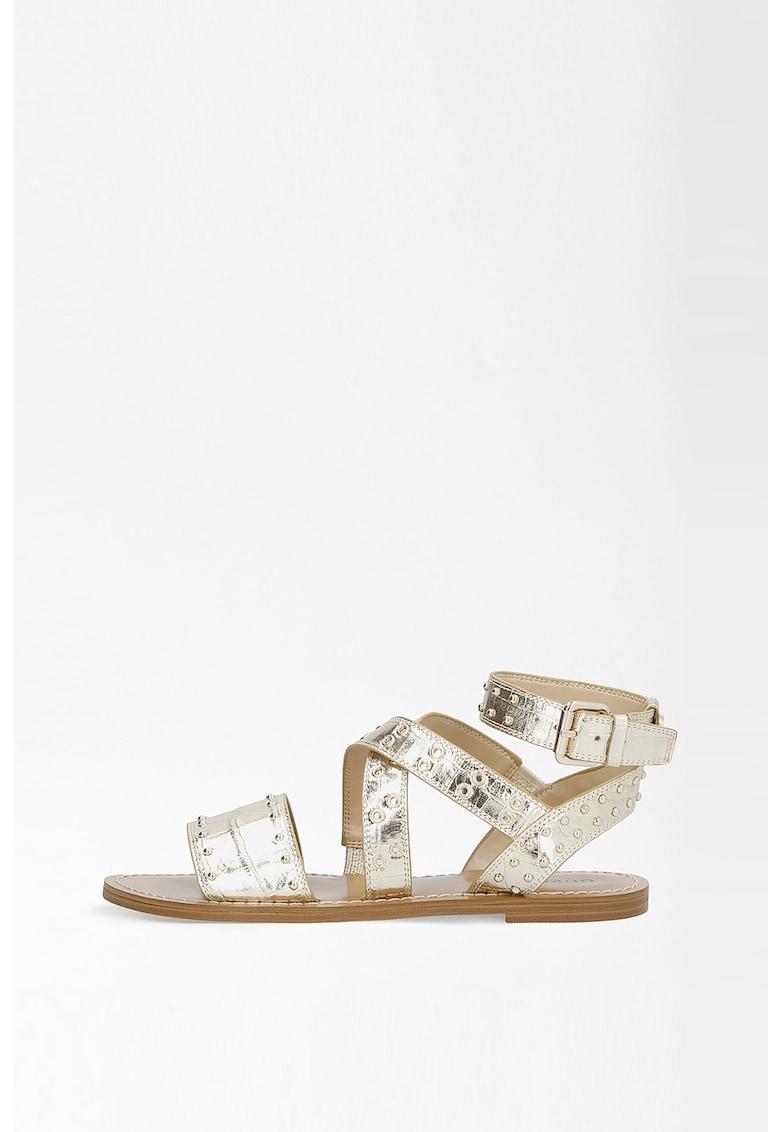 Sandale de piele cu aspect de piele de crocodil si nituri