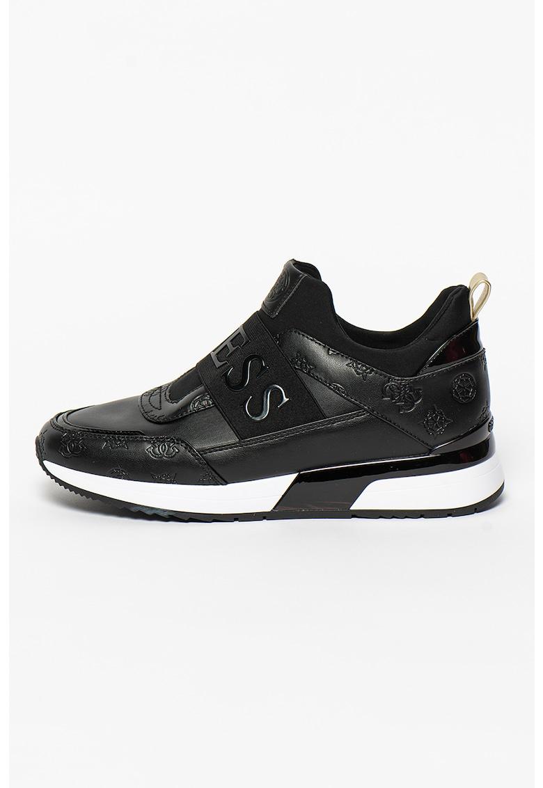 Pantofi sport slip-on de piele ecologica aplicatie logo