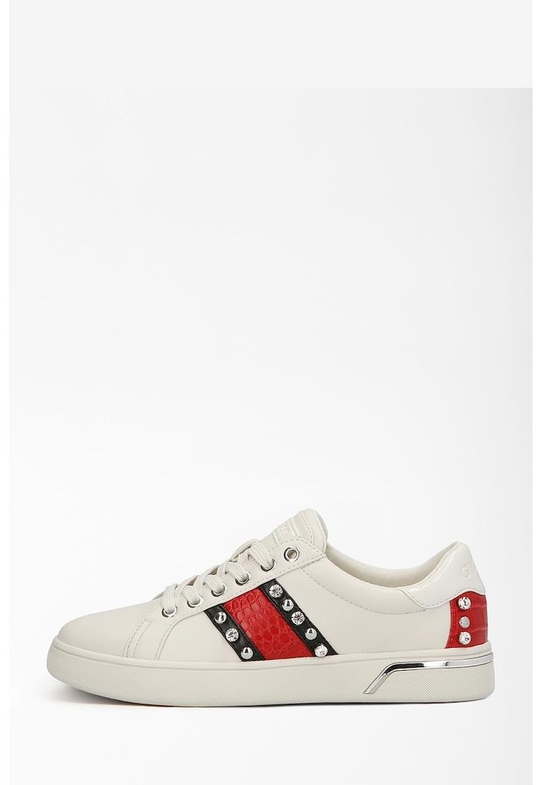 Pantofi sport de piele ecologica cu insertii cu model piele de reptila