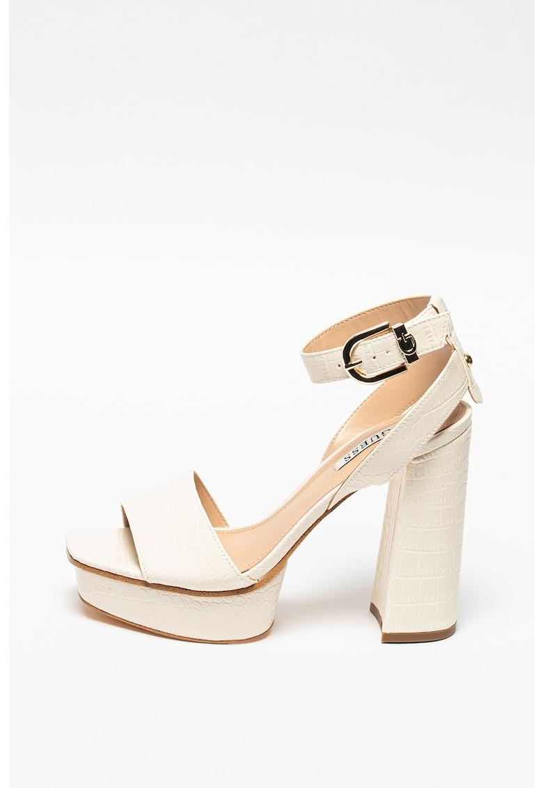 Sandale de piele ecologica cu toc masiv si bareta pe glezna