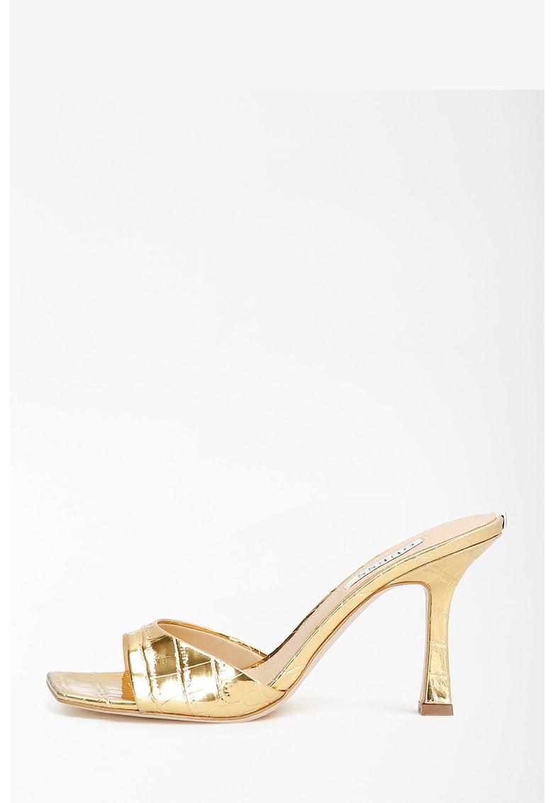 Papuci cu toc cu aspect piele de reptila imagine fashiondays.ro 2021