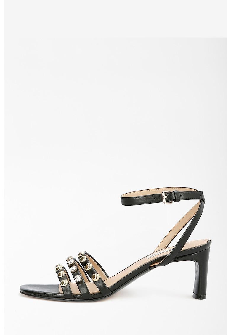 Sandale de piele ecologica cu toc inalt si patrat