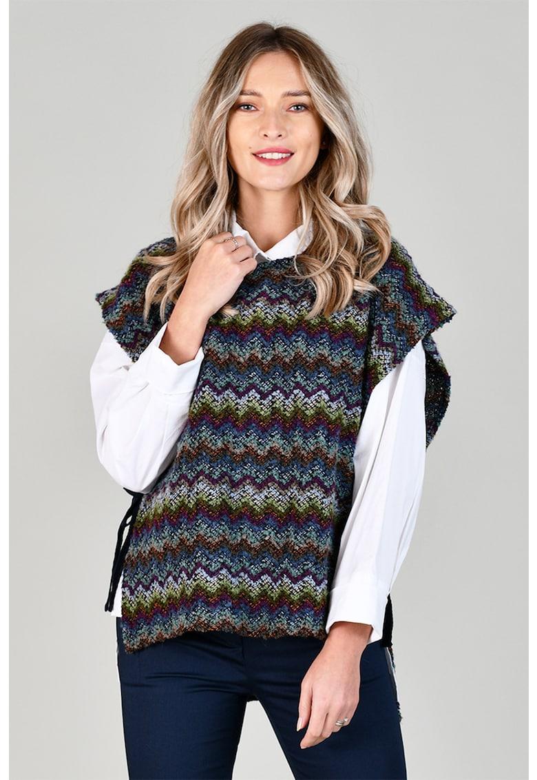 Tunica tip tabard din amestec de lana cu model chevron imagine