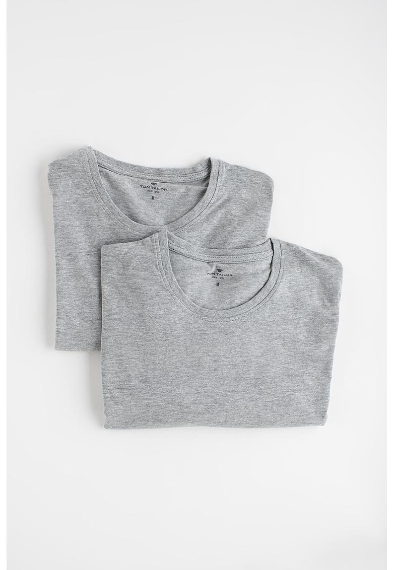 Set de tricouri de bumbac cu decolteu la baza gatului - 2 piese Bărbați imagine