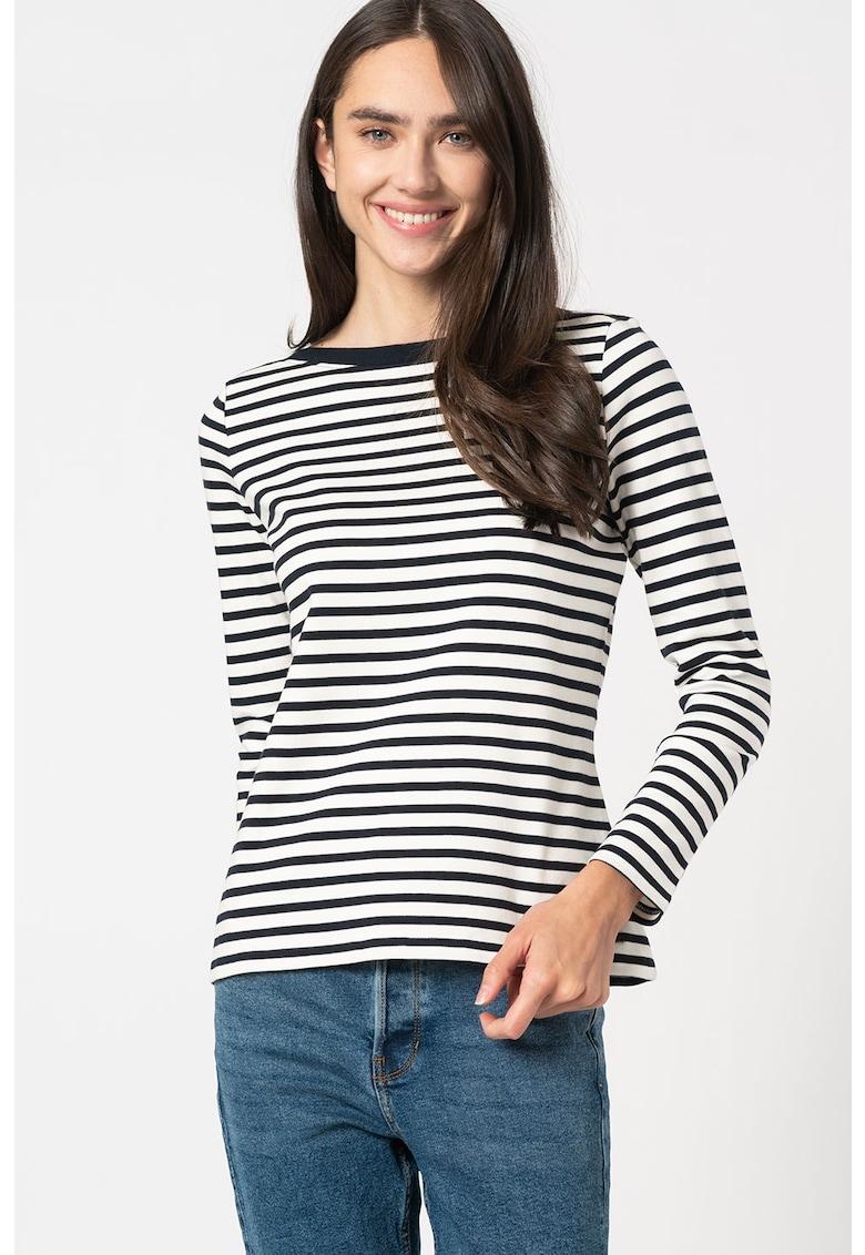 Bluza cu model in dungi si decolteu barcuta imagine promotie