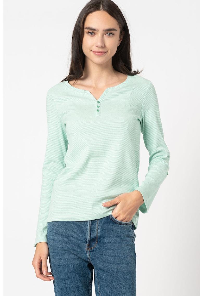 Bluza texturata cu decolteu henley imagine promotie