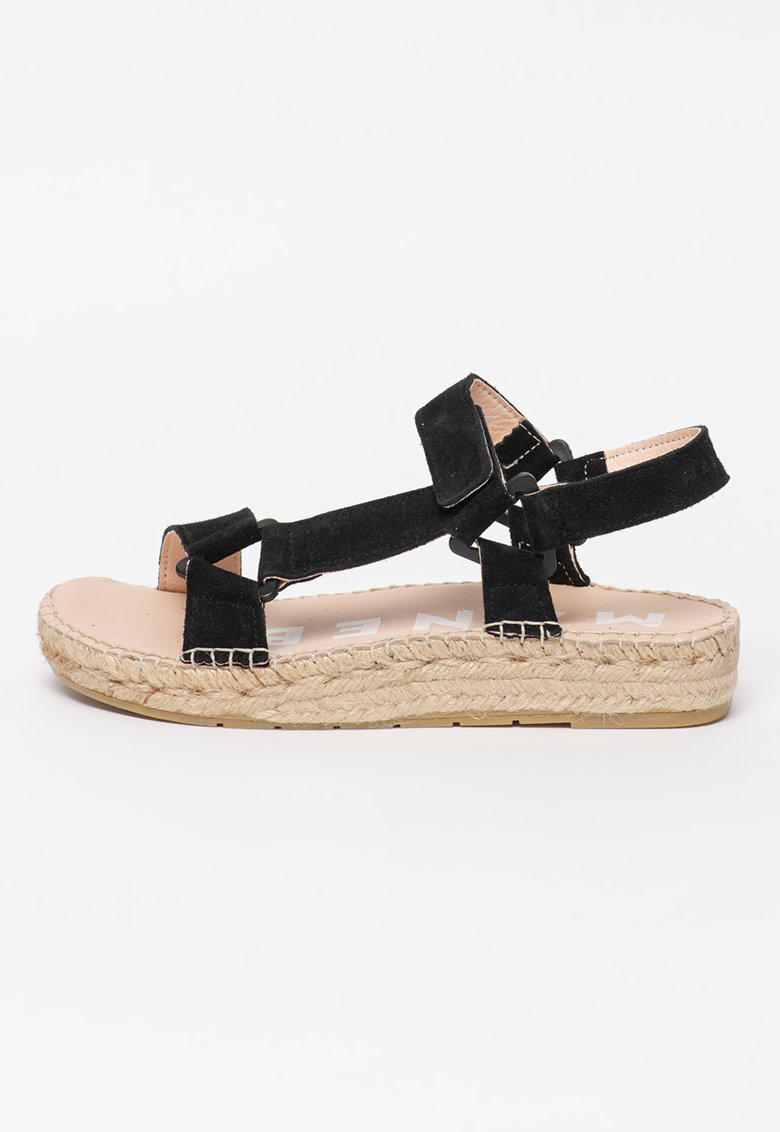 Sandale tip espadrile de piele intoarsa cu aplicatie impletita din iuta Hamptons