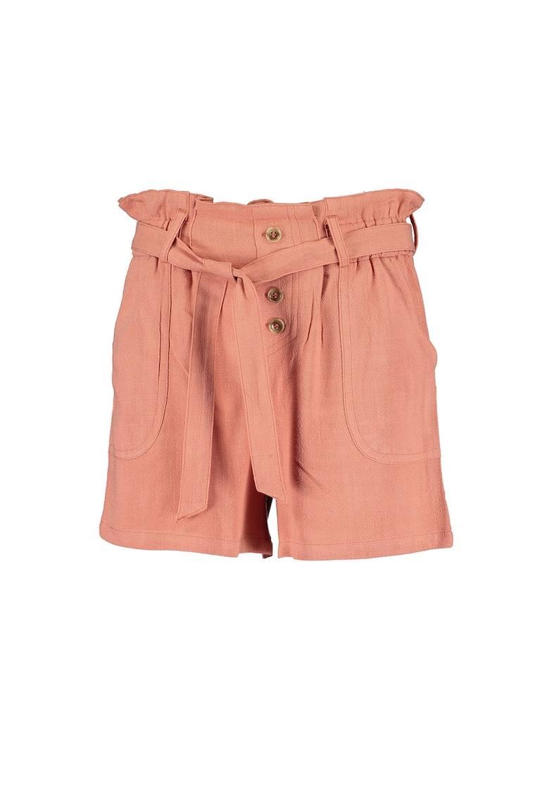 Pantaloni scurti cu talie inalta - din amestec de in imagine fashiondays.ro 2021