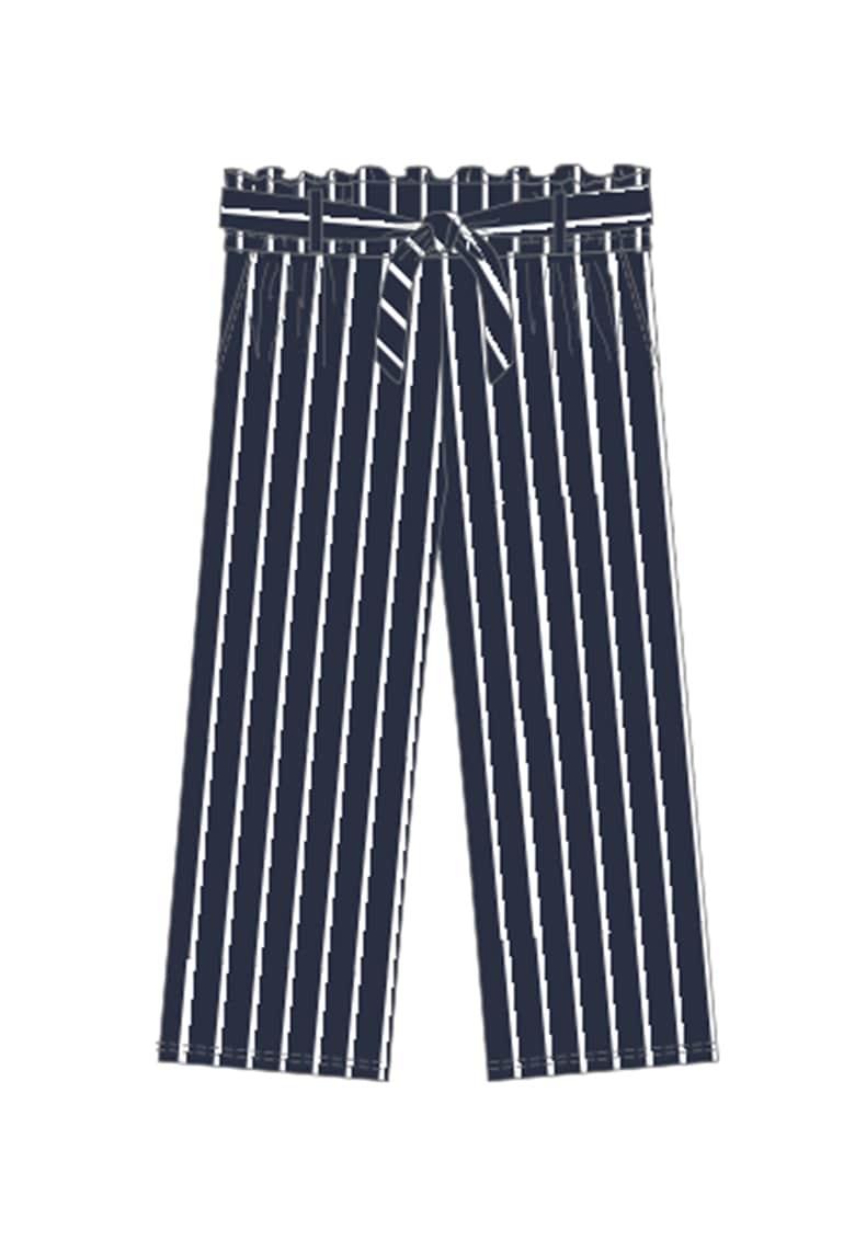 Pantaloni cu dungi discrete si cordon in talie