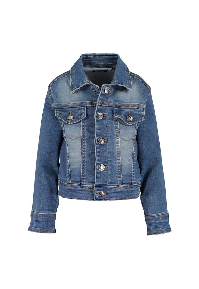 Jacheta din denim cu buzunare cu clapa de la Blue Seven